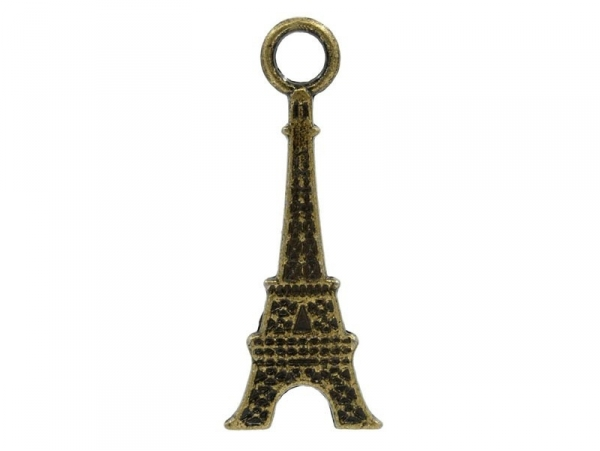 1 bronze-coloured 2-D Eiffel Tower charm