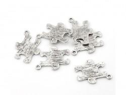 1 breloque pièce de puzzle - argentée