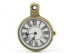 1 Breloque horloge de gare - couleur bronze