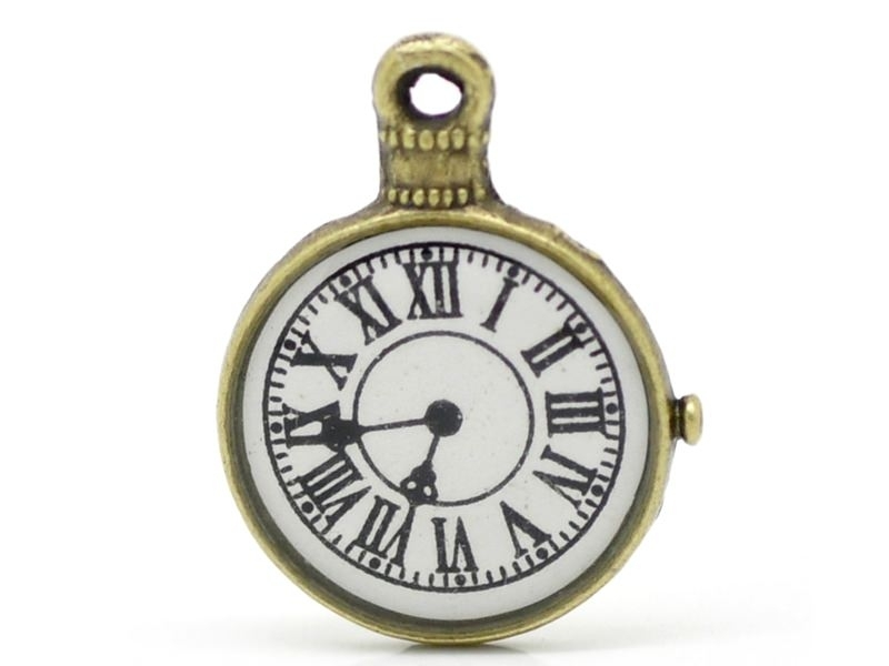 1 station clock charm - bronze-coloured