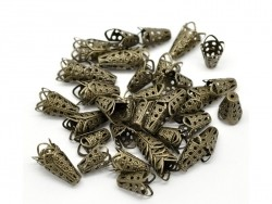 Filigree cone bead caps - bronze-coloured