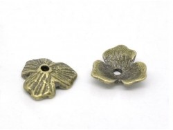 Hübsche, blumenförmige Perlenkappe - bronzefarben