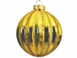 Acheter Boule de Noël dorée avec lignes paillettées - 8 cm - 2,99€ en ligne sur La Petite Epicerie - Loisirs créatifs