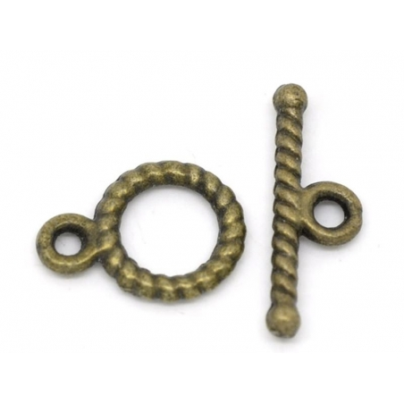 Acheter 1 Fermoir Toogle strié - couleur bronze - 0,39€ en ligne sur La Petite Epicerie - Loisirs créatifs