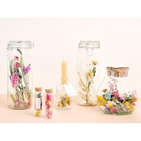 Acheter Vase bougeoir à fleurs séchées - bougie jaune - 9,99€ en ligne sur La Petite Epicerie - Loisirs créatifs