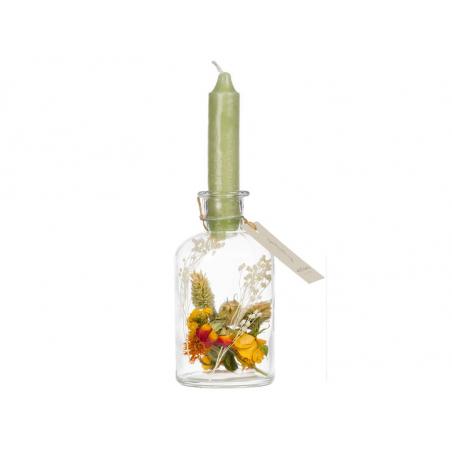 Acheter Vase bougeoir à fleurs séchées - bougie kaki - 9,99€ en ligne sur La Petite Epicerie - Loisirs créatifs