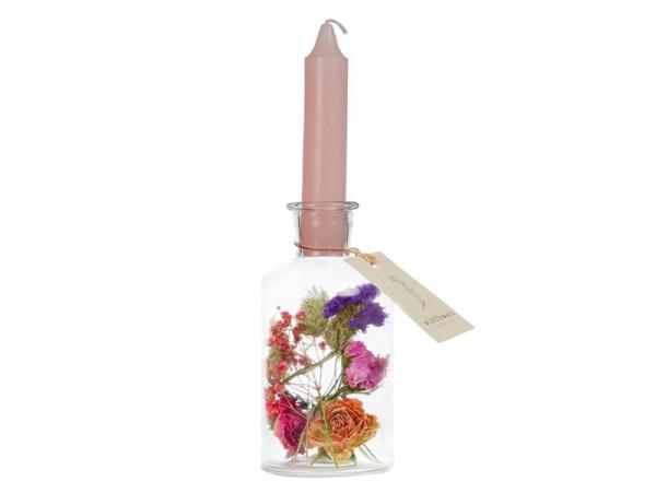 Acheter Vase bougeoir à fleurs séchées - bougie vieux rose - 9,99€ en ligne sur La Petite Epicerie - Loisirs créatifs