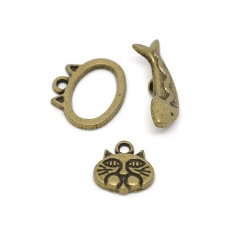 1 toggle clasp fish/cat - bronze-coloured