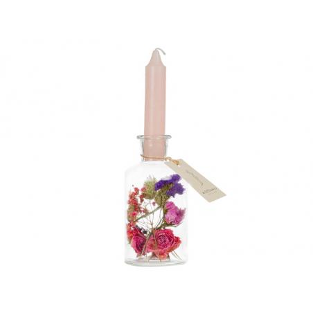 Acheter Vase bougeoir à fleurs séchées - bougie rose pâle - 9,99€ en ligne sur La Petite Epicerie - Loisirs créatifs
