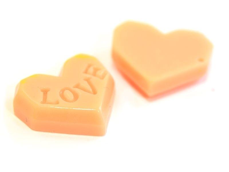 Cabochon biscuit coeur rose  - 1