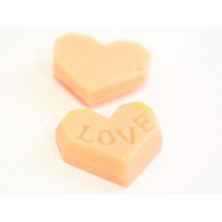 Cabochon biscuit coeur rose  - 3