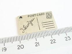 1 Breloque carte postale Argentée  - 2