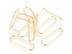 Acheter Paire de boucles d'oreilles ovale Huggie - doré à l'or fin 18k - 35,5 mm - 5,89€ en ligne sur La Petite Epicerie - L...