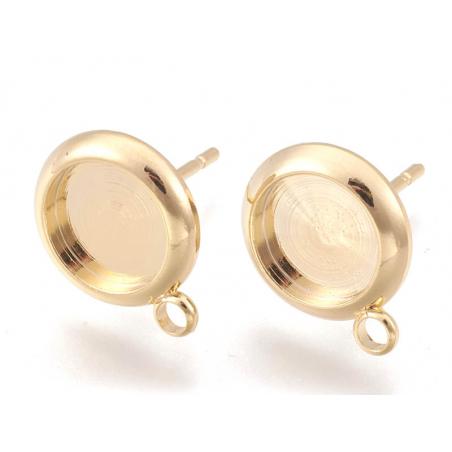 Acheter Paire de boucles d'oreilles pour cabochons ronds - doré à l'or fin 18k - 8 mm - 2,89€ en ligne sur La Petite Epiceri...