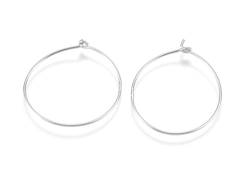 Acheter Paire de boucles d'oreilles arceau - plaqué platine - 23,5 mm - 3,79€ en ligne sur La Petite Epicerie - Loisirs créa...