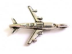 1 Breloque avion de ligne - argentée
