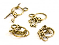 1 key ring charm with 3 keys - bronze-coloured