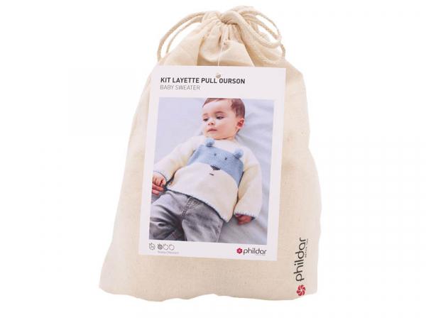 Acheter Kit de tricot layette pull ourson - Bleu - 29,89€ en ligne sur La Petite Epicerie - Loisirs créatifs