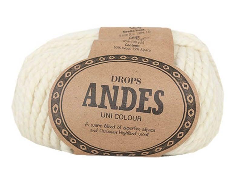 Acheter Laine Drops - Andes - 0100 Ecru (uni) - 5,30€ en ligne sur La Petite Epicerie - Loisirs créatifs