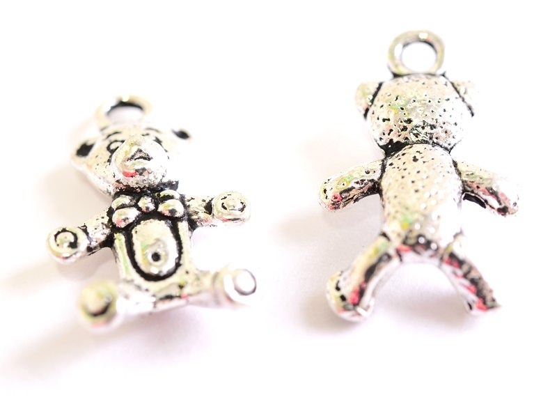 1 teddy bear charm - dark silver-coloured