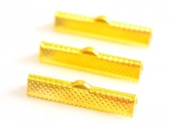 Ribbon crimp end for bias bindings, 30 mm - gold-coloured