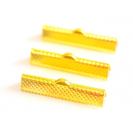 Ribbon crimp end for bias bindings, 30 mm - gold-coloured