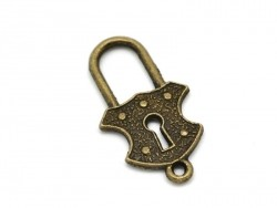 1 royal padlock charm - bronze-coloured