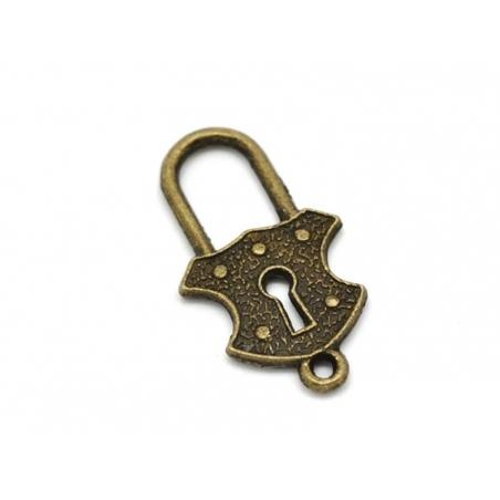 1 Breloque cadenas royal  - couleur bronze