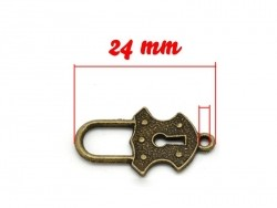 1 Breloque cadenas royal  - couleur bronze
