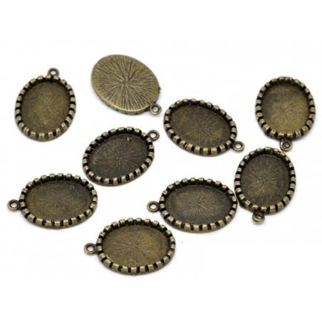 1 Breloque support pour cabochon  - couleur bronze