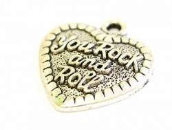 "1 heart-shaped pendant bearing the words ""You rock and roll"" - dark silver-coloured"