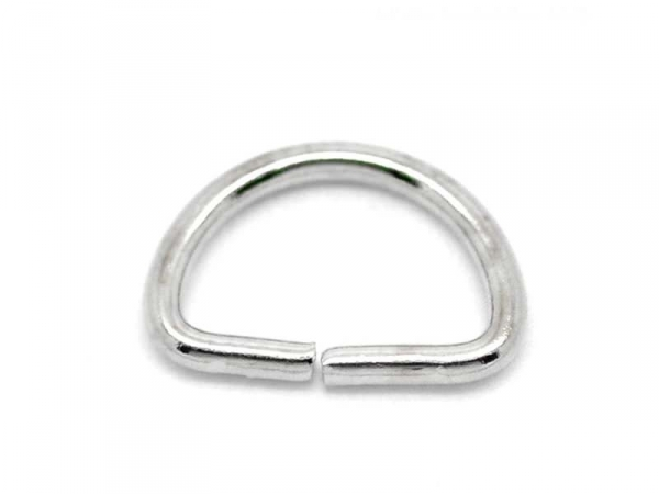 5 thin D-ring bails - silver-coloured