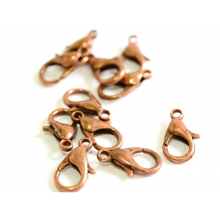 1 copper-coloured lobster clasp, 12 mm