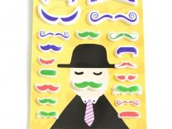 Stickers 3D Moustache - Vert, rouge, bleu