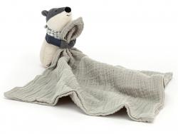 Acheter Peluche doudou qui tient un lange - blaireau - 27,49€ en ligne sur La Petite Epicerie - Loisirs créatifs