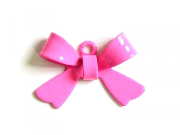 1 neon pink bow charm