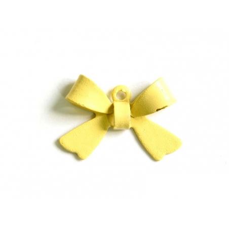 1 Breloque noeud - beige / jaune pâle