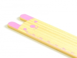 Adorable règle en bois 15 cm - lapin rose