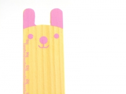 Adorable wooden ruler (15 cm) - pink bunny