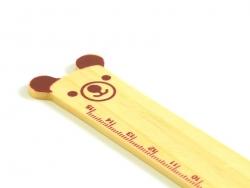Adorable wooden ruler (15 cm) - brown teddy bear