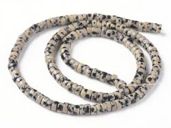 Acheter 100 perles heishi naturelles 4 mm - jaspe dalmatien - 5,79€ en ligne sur La Petite Epicerie - Loisirs créatifs