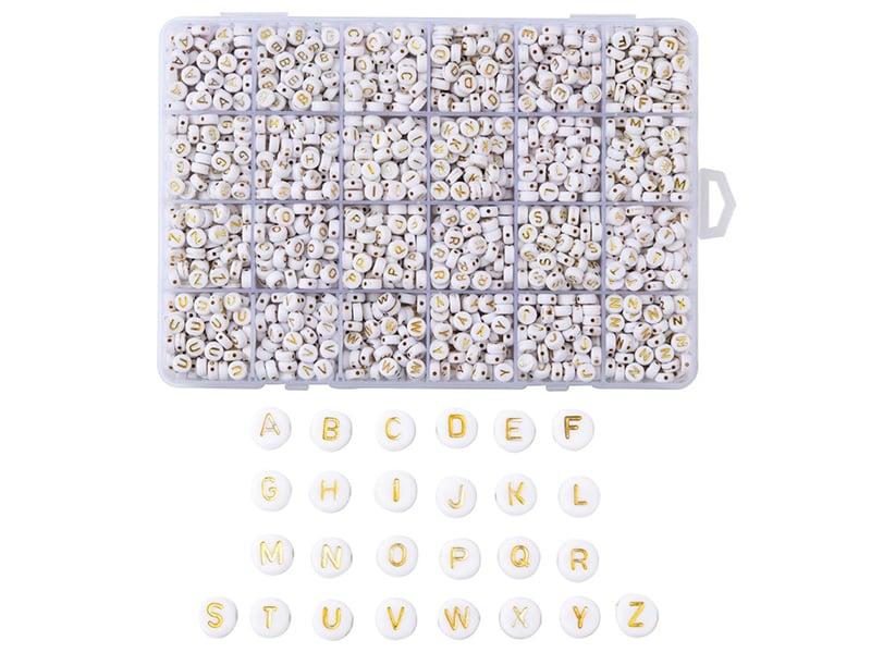 Acheter Boite de 1898 perles rondes en plastique - lettres alphabet - dorées - 15,99€ en ligne sur La Petite Epicerie - Lois...