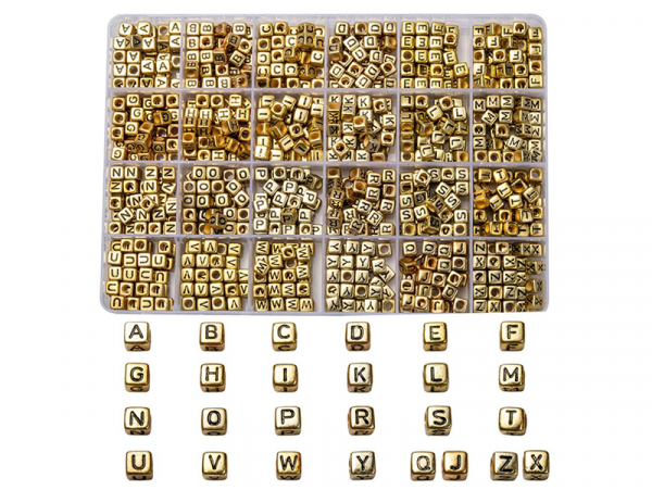 Acheter Boite de 934 perles lettres alphabet carrées - dorées - 13,99€ en ligne sur La Petite Epicerie - Loisirs créatifs