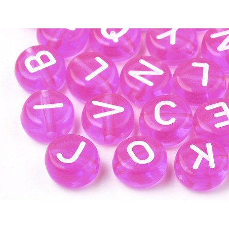 Acheter 200 perles rondes en plastique transparent - lettres alphabet - rose fuschia - 7 mm - 3,99€ en ligne sur La Petite E...