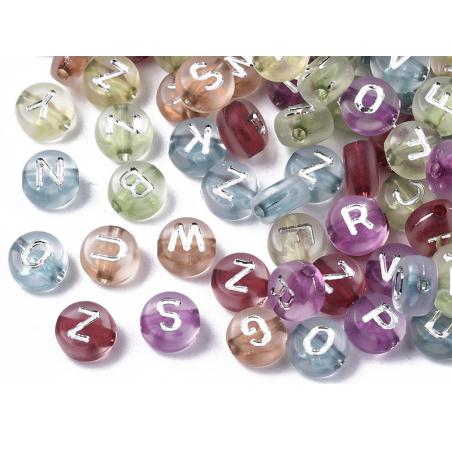 Acheter 200 perles rondes en plastique transclucide - lettres alphabet - couleurs chaudes - 2,99€ en ligne sur La Petite Epi...