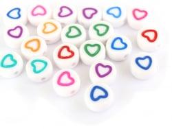 Acheter 20 perles rondes en plastique - coeur - multicolore - 0,99€ en ligne sur La Petite Epicerie - Loisirs créatifs