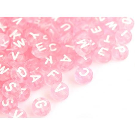 Acheter 200 perles rondes en plastique transparent - lettres alphabet - rose pâle - 7 mm - 3,49€ en ligne sur La Petite Epic...