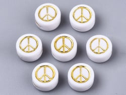 Acheter 20 perles rondes en plastique - peace and love - doré et blanc - 0,99€ en ligne sur La Petite Epicerie - Loisirs cré...