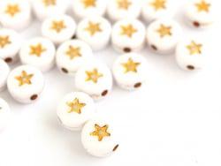 Acheter 20 perles rondes en plastique - étoiles - doré et blanc - 0,99€ en ligne sur La Petite Epicerie - Loisirs créatifs