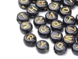 Acheter 200 perles lettres alphabet rondes en plastique - noir et doré - 2,49€ en ligne sur La Petite Epicerie - Loisirs cré...